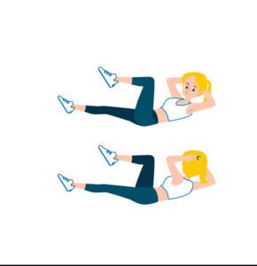 کوچک کردن شکم و پهلو با ورزش:کرانچ دوچرخه