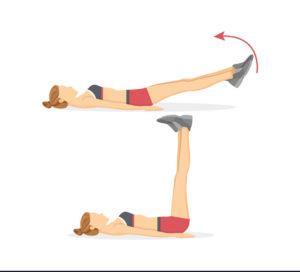 حرکت ورزشی برای لاغری شکم در یک ماه: بالا آوردن پاها