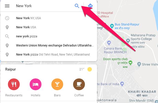مرور زمان) در Google Maps