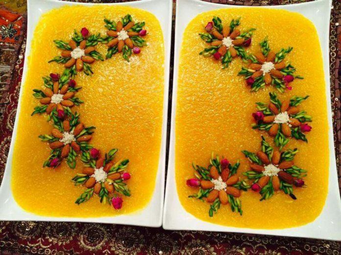 طرز تهیه شله زرد فوری + دستور پخت شله زرد برای نذری به همرا تزئین