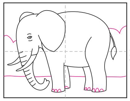 آموزش نقاشی فیل ساده برای کودکان ابتدایی