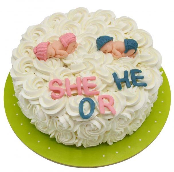 طرز تهیه کیک تعیین جنسیت خانگی خامه ای