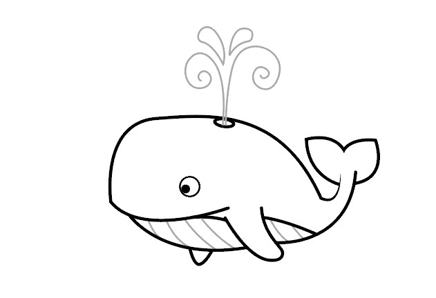 آموزش نقاشی نهنگ ساده برای کودکان