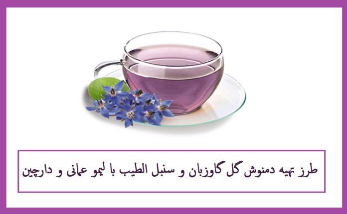 طرز تهیه دمنوش گل گاوزبان و سنبل الطیب با لیمو عمانی و دارچین